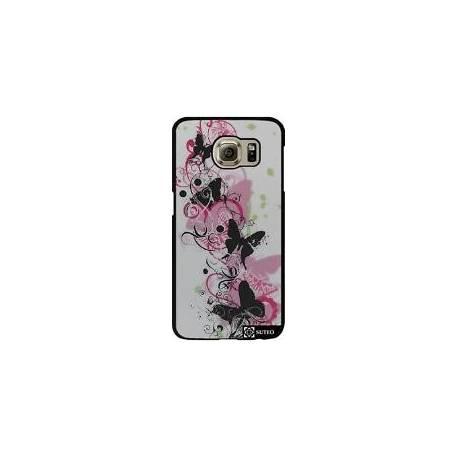 1135 - Coque Samsung Galaxy S6 (SM-G920) - Papillon Noir Et Fleurs Rose