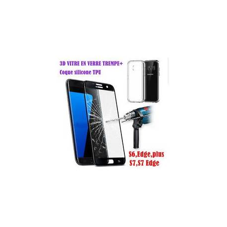 Film Protection Vitre VERRE Trempé 3D Samsung Galaxy S6/S7/Edge/PLUS + Coque TPU