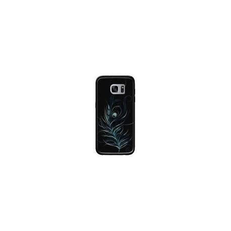 Coque Feather Plume Noir Bleu pour Samsung Galaxy S7 - LouJah