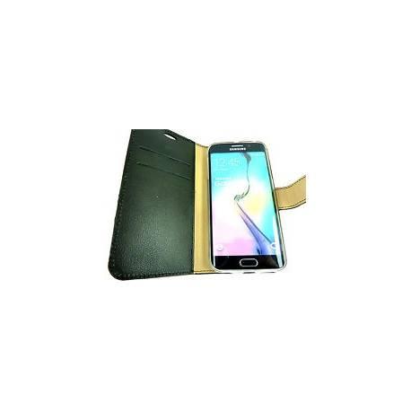 Housse Etui Coque Pochette Portefeuille Noir en CUIR VERITABLE Samsung Galaxy S7