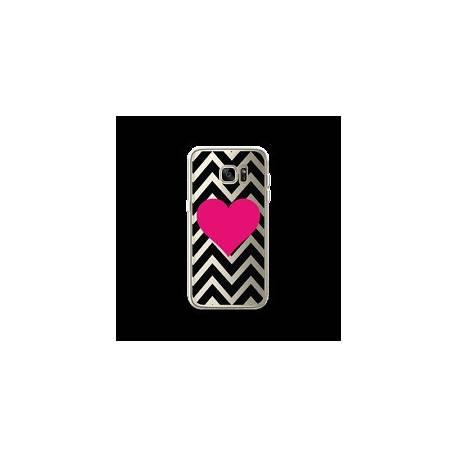 Coque Samsung Galaxy S7 Edge motif Fuschia Sur Fond Noir