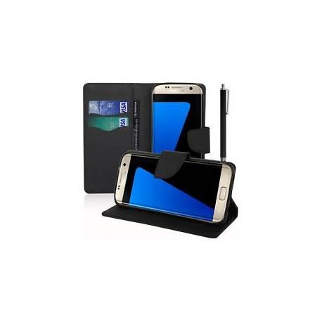 Etui Coque Portefeuille Silicone Effet Tissu NOIR Samsung Galaxy S7 Edge G935F