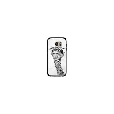 Coque Ostrich Autruche Noir et Blanc pour Samsung Galaxy S7 Edge - LouJah