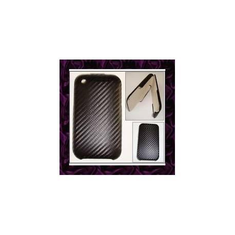 Housse RIGIDE iPhone 3G 3GS ???EFFET CARBONE NOIR???
