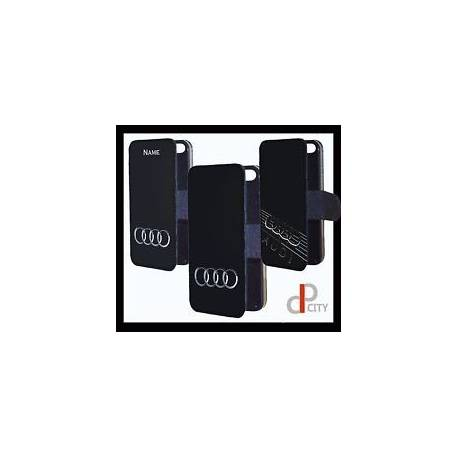Audi personnalisé logo téléphone étui rabat portefeuille cadeau iphone samsung