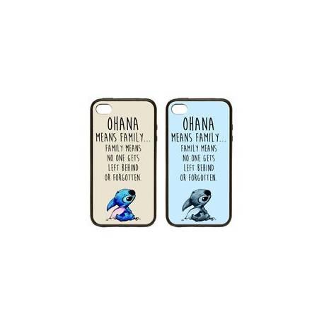 Ohana signifie famille | caoutchouc et plastique étui téléphone coque lilo stitch bleu/beige