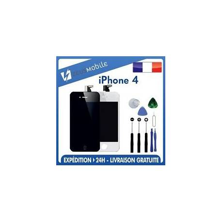 KIT COMPLET : VITRE TACTILE + ECRAN LCD RETINA IPHONE 4 NOIR/BLANC + NOTICE