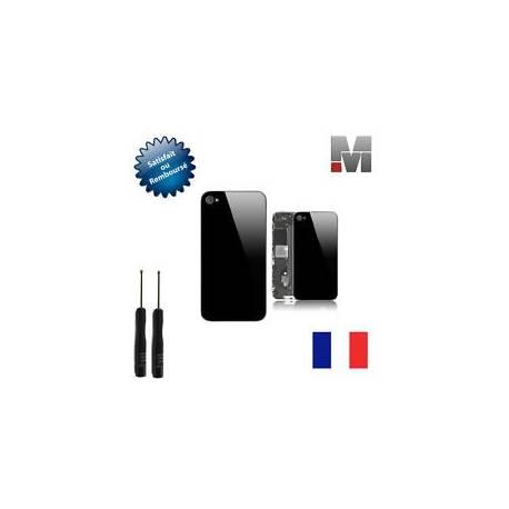 VITRE ARRIERE NOIR SUR CHASSIS IPHONE 4S + OUTILS + FILM