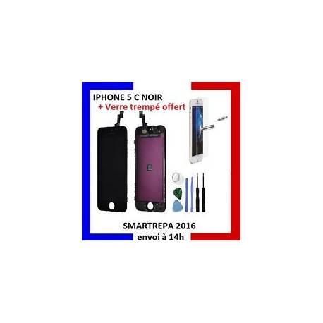 VITRE TACTILE IPHONE 5C NOIR COMPLET + ECRAN LCD RETINA SUR CHASSIS + OUTILS