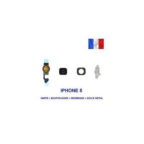 BOUTON HOME NOIR IPHONE 5 + NAPPE + MEMBRANE + SOCLE METAL