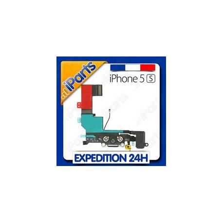 NAPPE DOCK CONNECTEUR CHARGE + PRISE JACK + MICRO + ANTENNE POUR IPHONE 5S NOIR