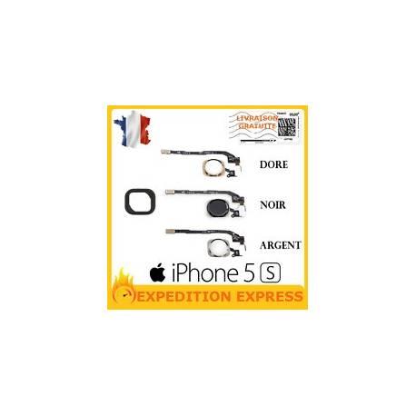 BOUTON HOME + NAPPE FLEX + CAOUTCHOUC IPHONE 5S NOIR / BLANC / DORE / OUTIL