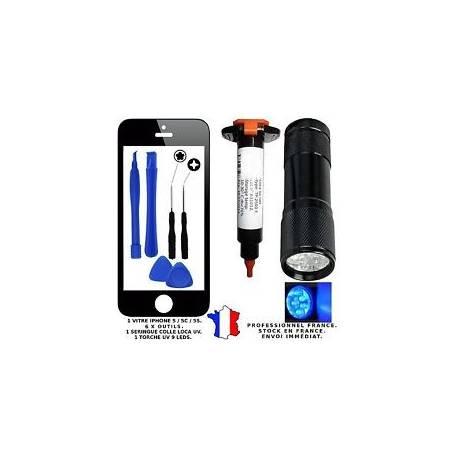 VITRE ÉCRAN FAÇADE NOIR BLACK IPHONE 5 + OUTILS + LOCA UV + TORCHE UV