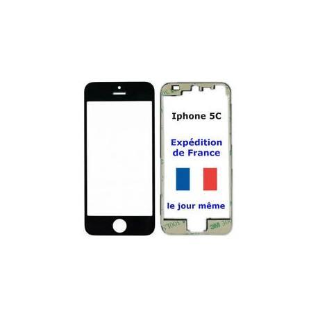 VITRE écran Apple IPHONE 5C NOIR + Chassis cadre contour bezel + Adhésif
