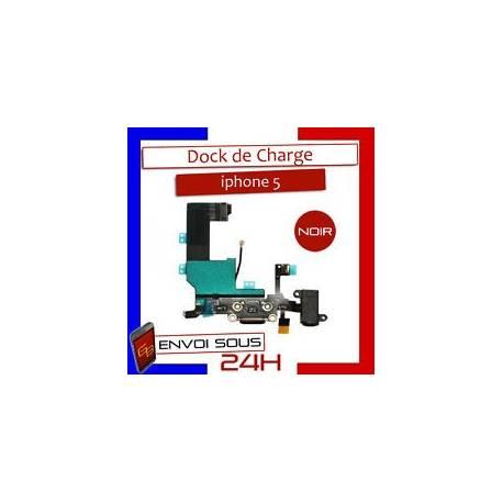NAPPE DOCK CONNECTEUR DE CHARGE + MICRO POUR IPHONE 5 NOIR