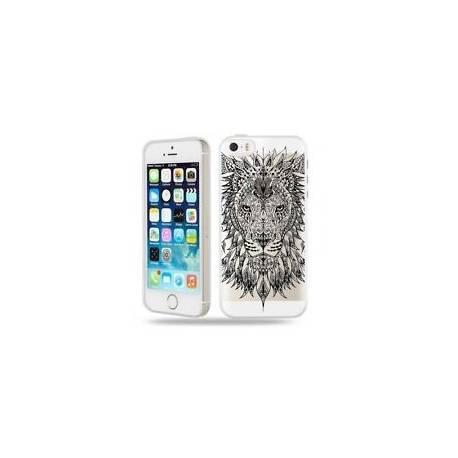 Coque iphone 5 5S SE lion jungle wild tatoo doodling noir transparente