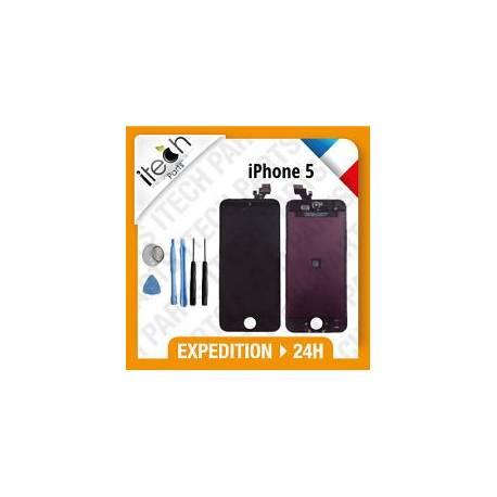 VITRE TACTILE + ECRAN LCD RETINA SUR CHASSIS IPHONE 5 NOIR + OUTILS