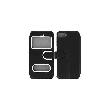 Housse, Etui Clapet Folio Double Fenêtres Fonction support Apple iPhone 7 - Noir