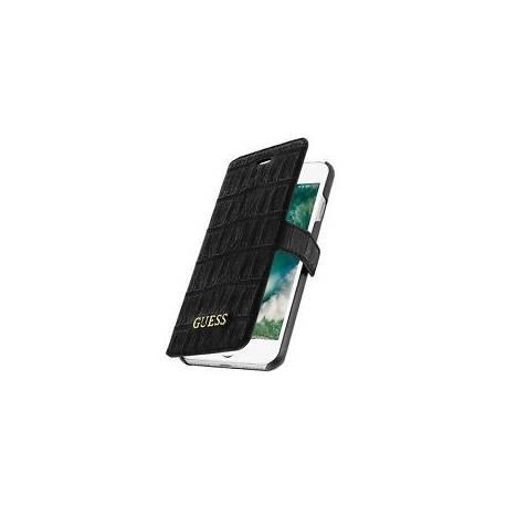 Housse Portefeuille Guess Noir Apple iPhone 7 - Revêtement imprimé motif croco
